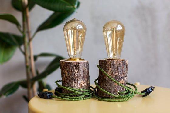 Image of SET of 2 Wooden Lamps GREEN WOOD. Table lamp. Edison bulb. Holzlampe. Tischleuchte.