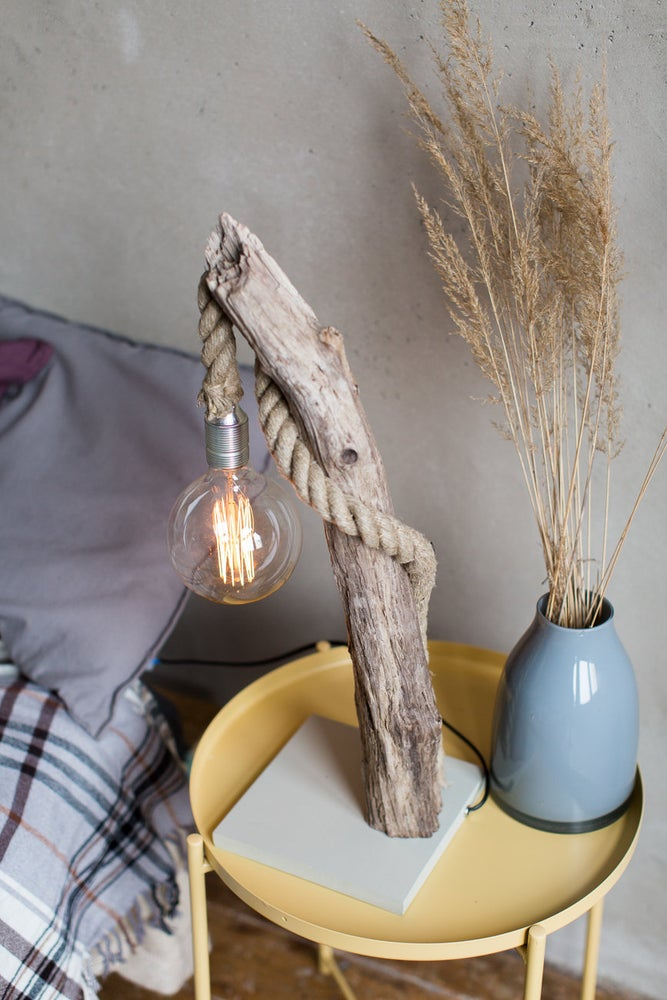 Image of Driftwood lamp FISHERMAN. Edison Bulb. With studs. Home decor. Treibholz. Treibholzlampe