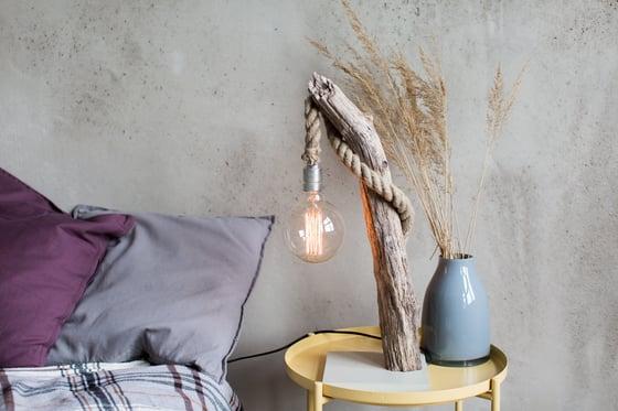 Image of Driftwood lamp FISHERMAN. Edison Bulb. With studs. Home decor. Treibholz. Treibholzlampe