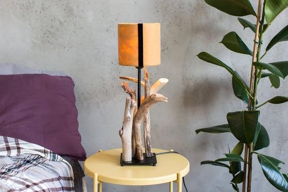 Image of Driftwood lamp BLACK LINE. Fleece Lamp shade. Home decor. Treibholzlampe. Tischlampe.