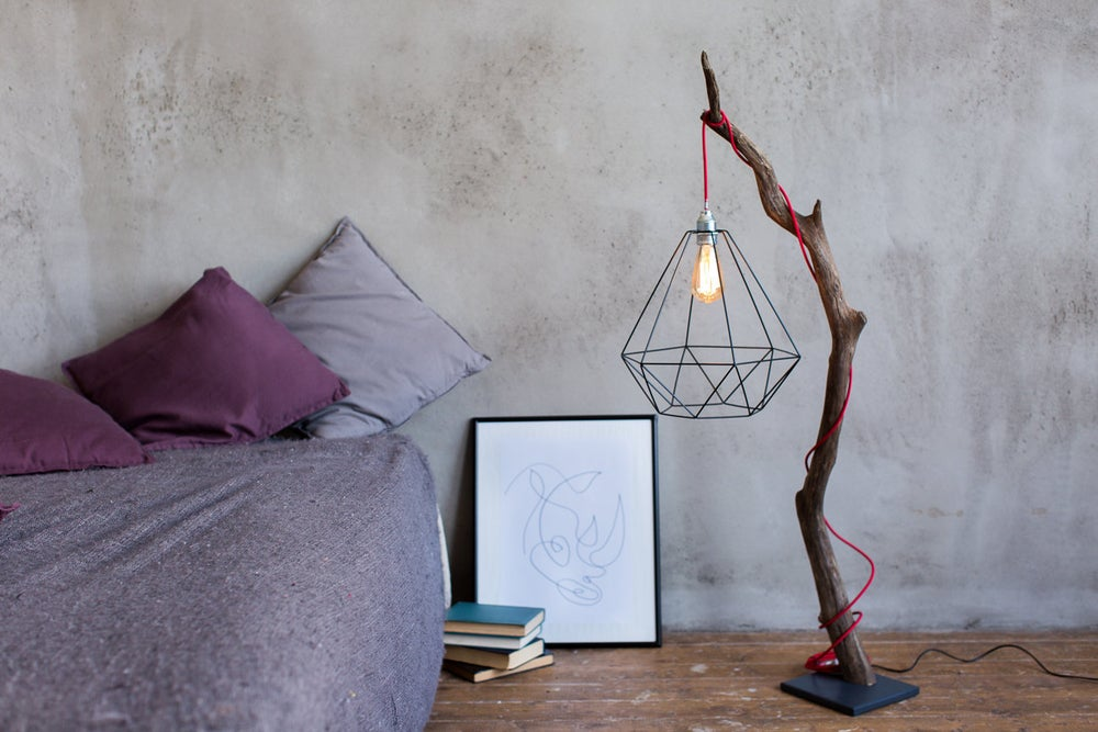 Image of Driftwood lamp with Edison bulb. Treibholzlampe. Metal shade. Red wire. Floor Lamp.