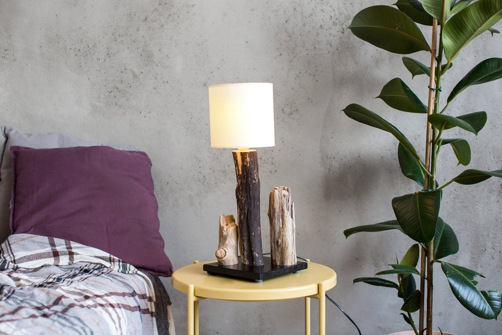 Image of Driftwood lamp with fabric lampshade. Home decor.