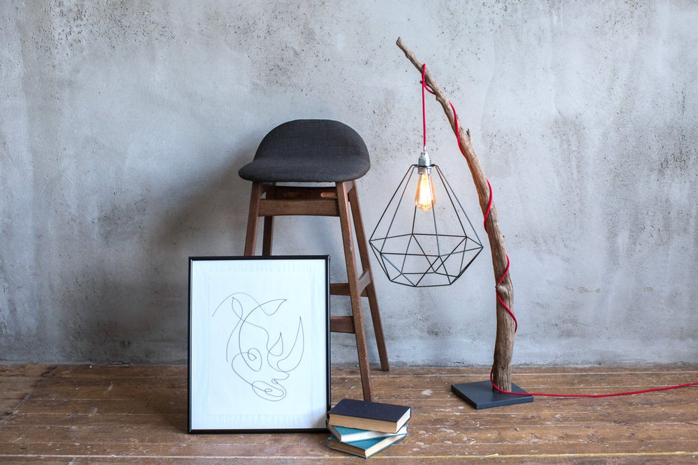 Image of Driftwood lamp with Edison bulb. Treibholzlampe. Metal shade. Red wire 2. Floor Lamp.