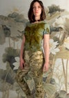 Eco print merino wool leggings