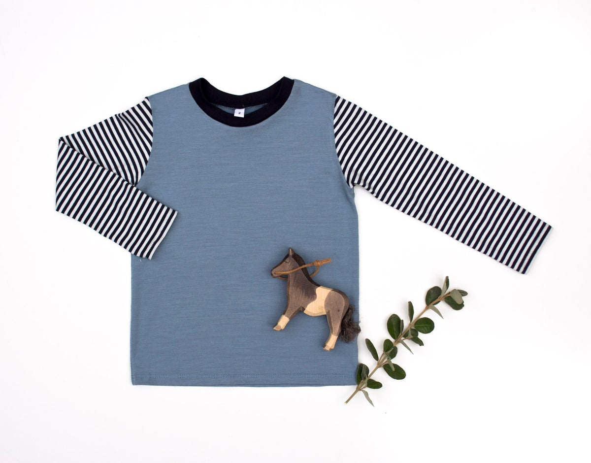 Image of Ash blue merino cotton Top