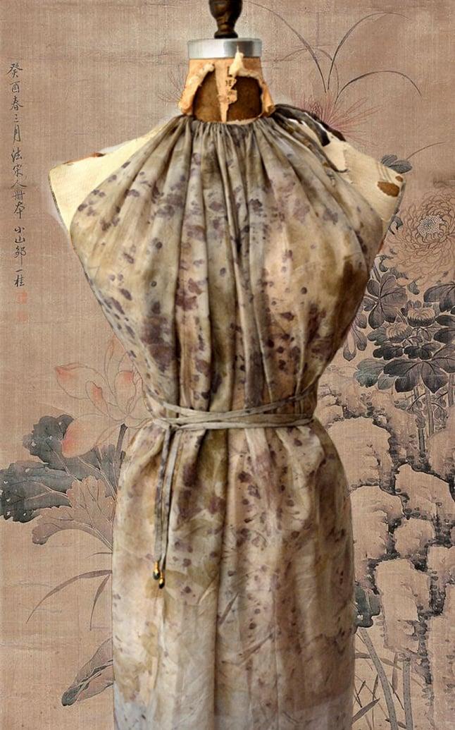 Image of eco print silk fairy dress