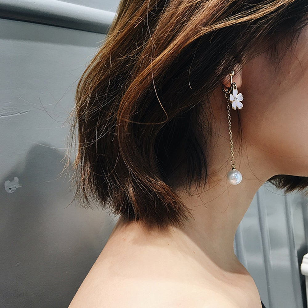 Grace Women S Simulated Pearl Threader Earrings Long Stud Flower Earring