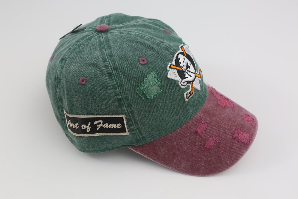 Image of Mighty Ducks Green & Burgandy 2-Tone Distressed Dad Hat