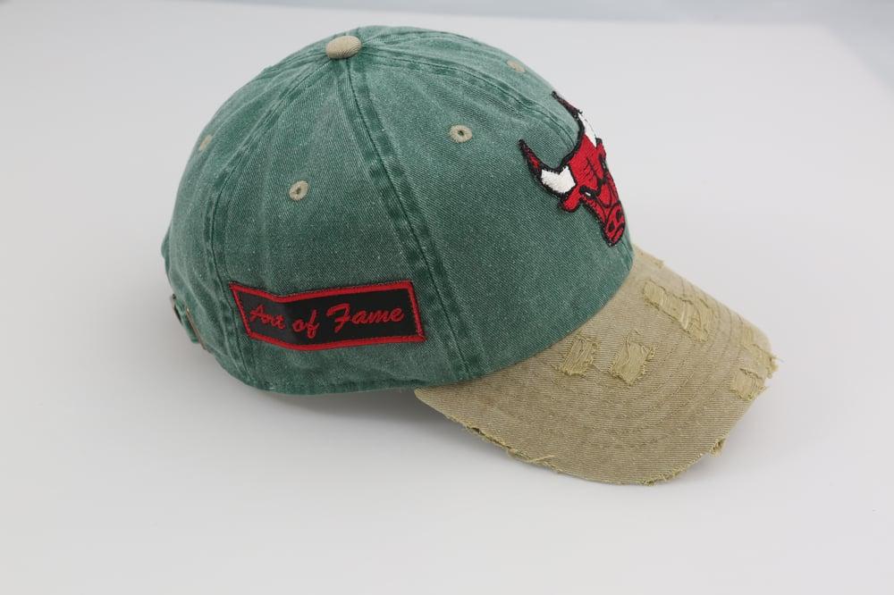 Image of Bulls Green & Tan 2-Tone Distressed Dad Hat