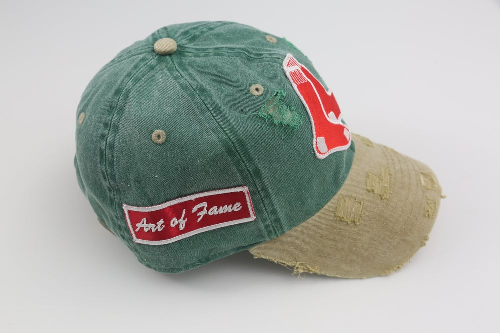 Image of Boston Red Sox Green & Tan 2-Tone Distressed Dad Hat