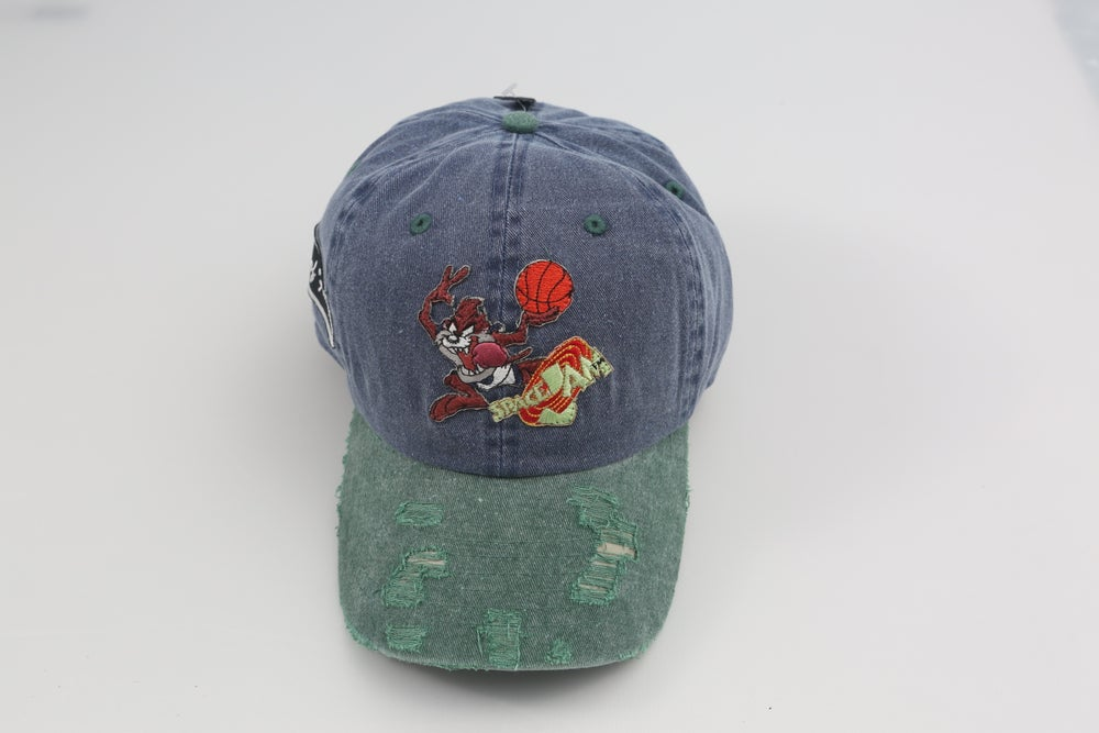 Image of Taz Space Jam Blue & Green 2-Tone Distressed Dad Hat
