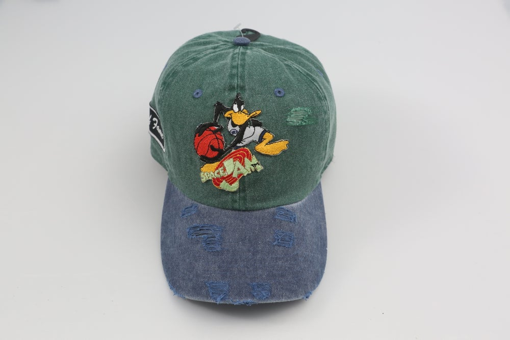 Image of Daffy Duck Space Jam Green & Blue 2-Tone Distressed Dad Hat