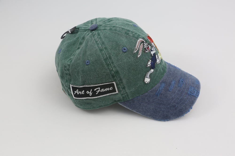 Image of Bugs Bunny Space Jam Green & Blue Distressed 2-Tone Dad Hat