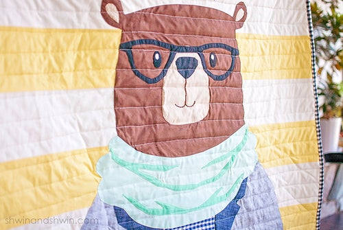 Image of Hipster Bear Quilt Applique