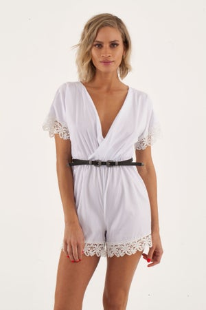 Image of White Romper with Crochet ends