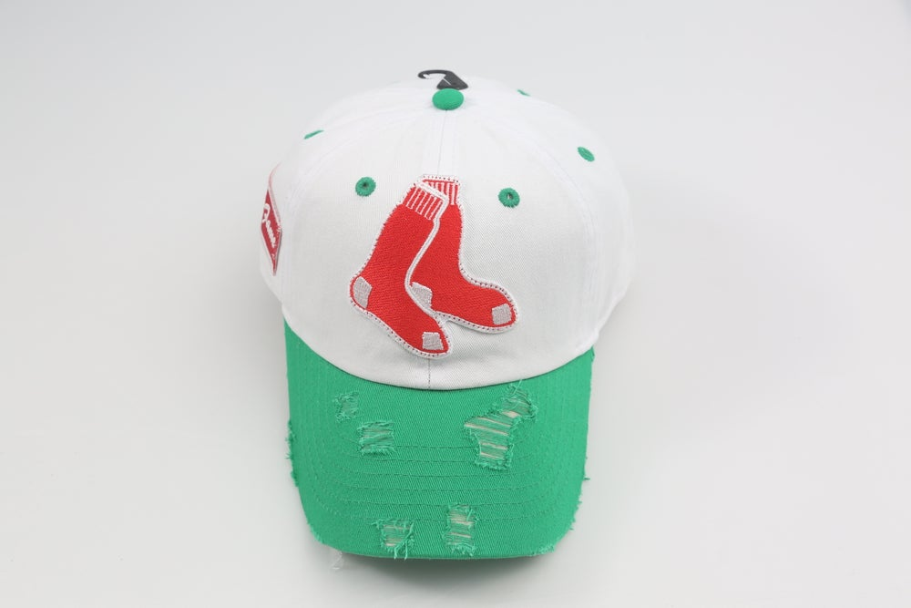 Image of Boston Red Sox White & Green 2-Tone Distressed Dad Hat