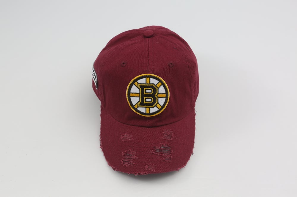 Image of Boston Bruins Burgandy Distressed Dad Hat