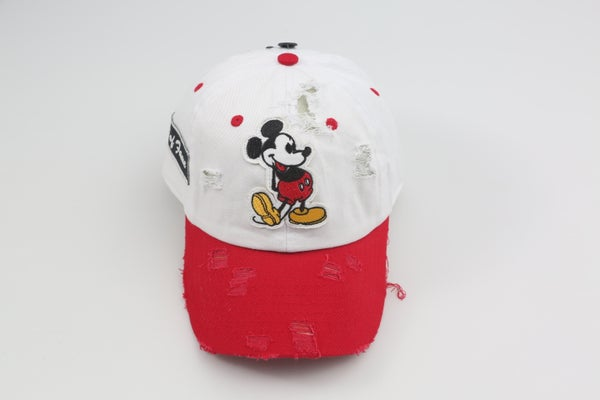 Image of Mickey Mouse White & Red 2-Tone Distressed Dad Hat