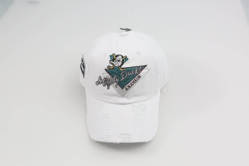 Image of Mighty Ducks White Distressed Dad Hat