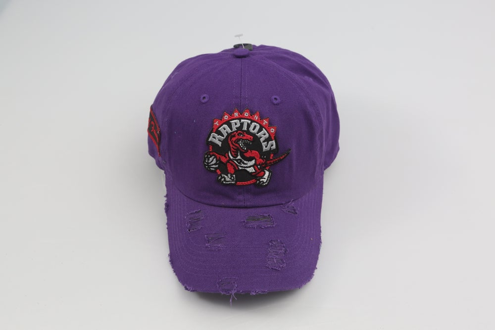 Image of Raptors Purple Distressed Dad Hat
