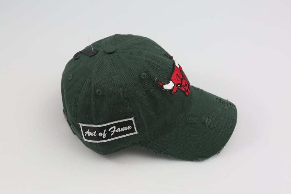 Image of Chicago Bulls Hunter Green Distressed Dad Hat