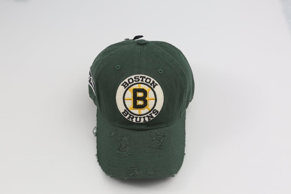 Image of Boston Bruins Throwback Logo Hunter Green Distressed Dad Hat