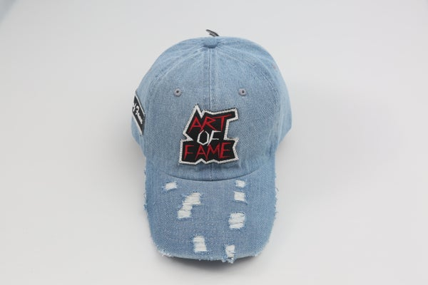 Image of Art of Fame Stacked Logo Denim Distressed Dad Hat