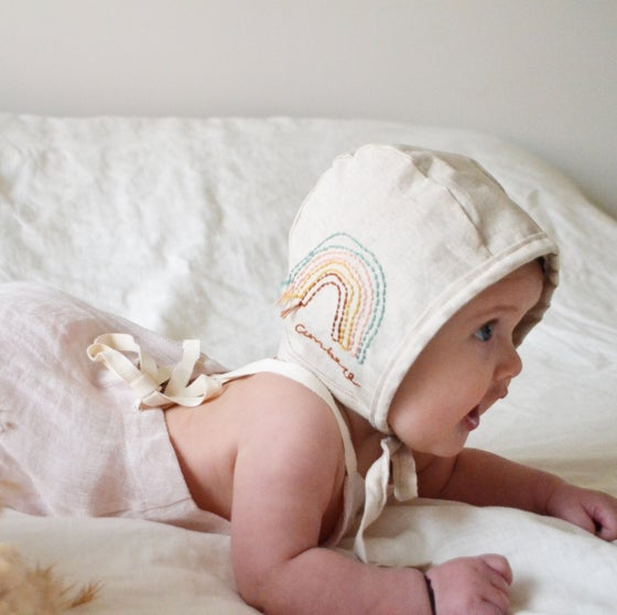 Image of Embroidered Rainbow Linen Bonnet