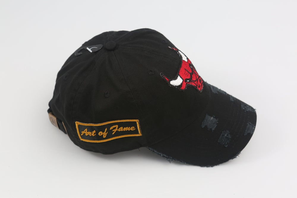 Image of Chicago Bulls Black Distressed Dad Hat