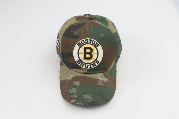 Image of Bruins Throwback Camo Distressed Dad Hat