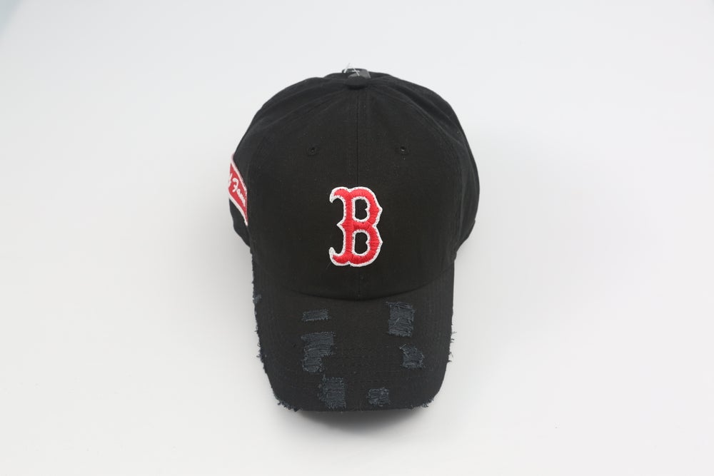 Image of Boston Red Sox Original B Black Distressed Dad Hat