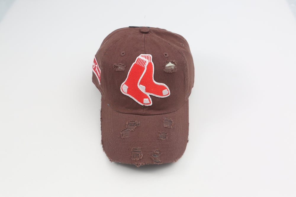 Image of Red Sox Chocolate Distressed Dad Hat