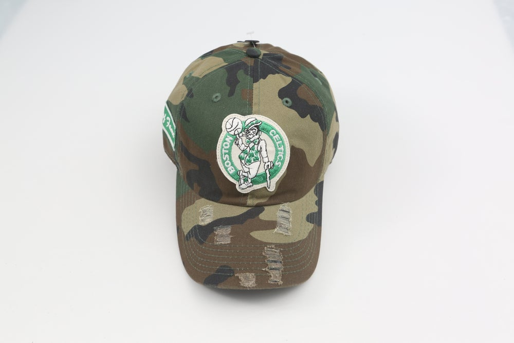 Image of Celtics Camo Distressed Dad Hat