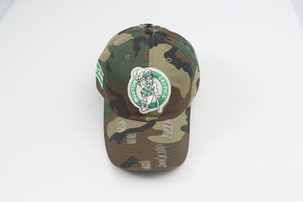 Image of Celtics Camo Distressed Dad Hat