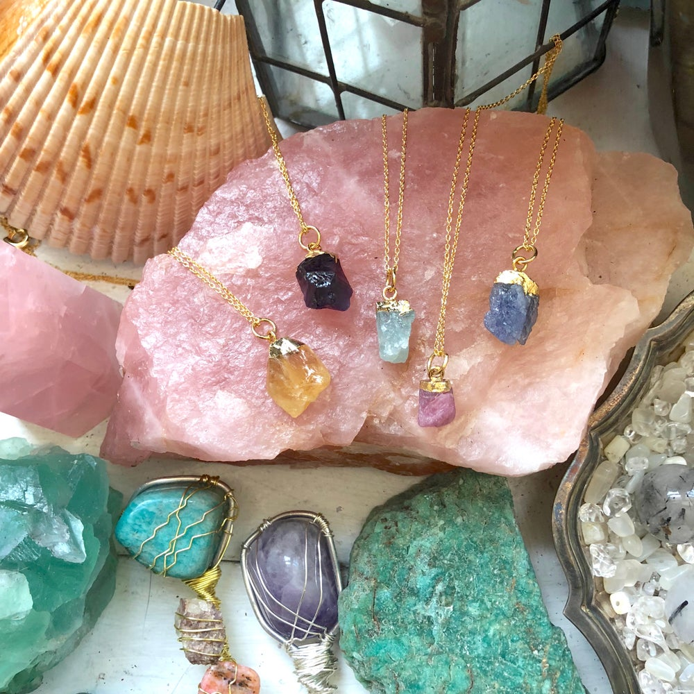 Image of 14k Gold Raw Crystal Necklaces