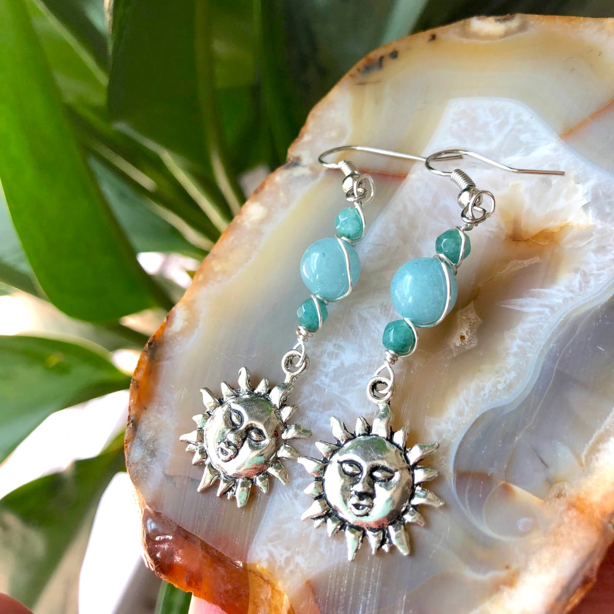 Image of Aquamarine Sun Blossom Silver Earrings