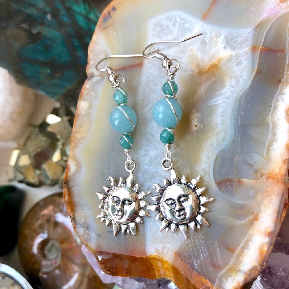 Image of Aquamarine Sun Blossom Silver Earrings