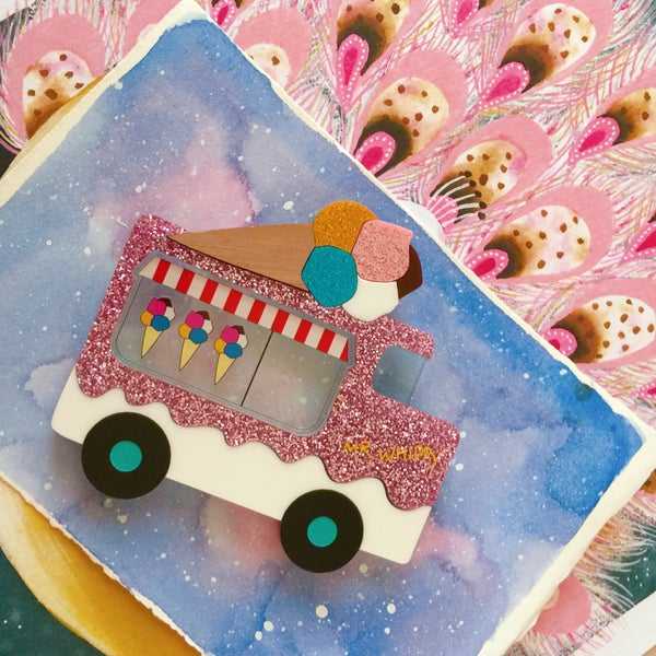 Image of Mr Whippy Icecream Truck Brooch - ROSE PINK GLITTER