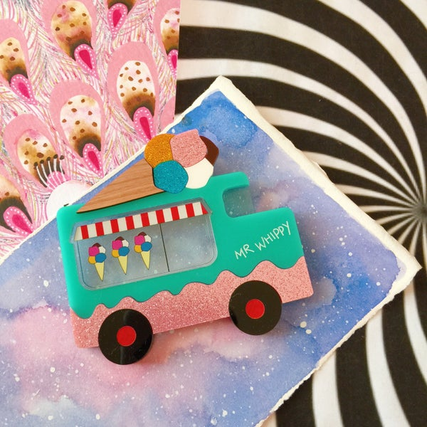 Image of Mr Whippy Icecream Truck Brooch - MINT