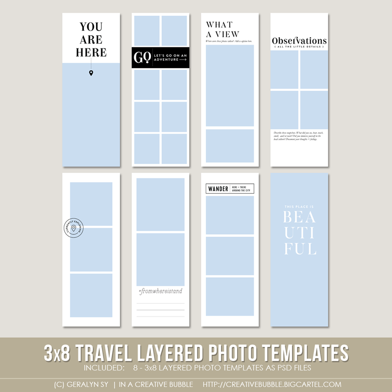 Image of 3x8 Travel Layered Photo Templates (Digital)