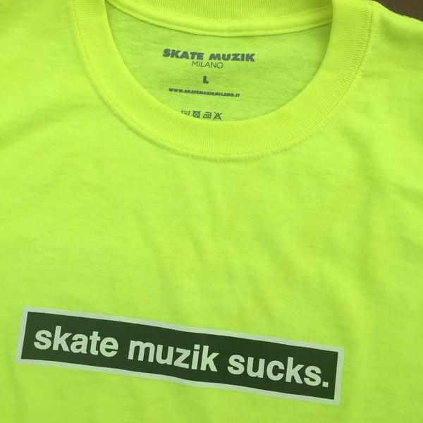 Image of Skate Muzik Sucks tee (Safety Yellow)