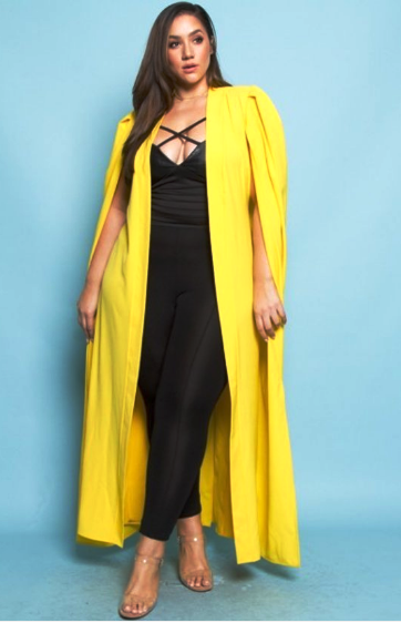 Image of Yellow Long Silk Cape