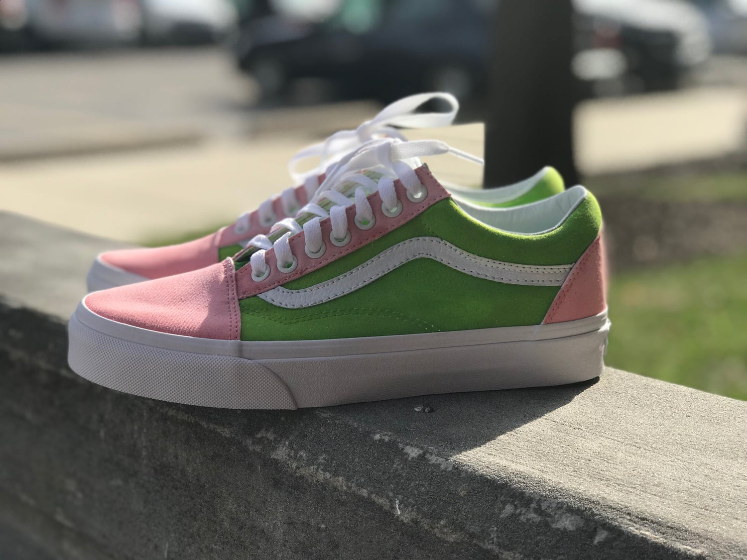 Image of Pink & Green Vans.