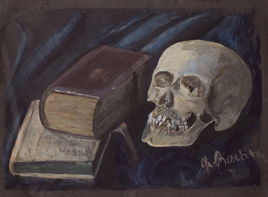 Image of 1920s Vanitas Painting w/ Skull