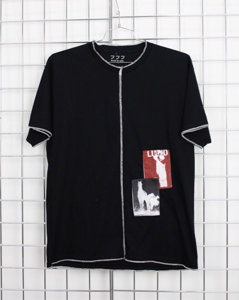 Image of OVERLOCK PATCH TEE (BLACK)
