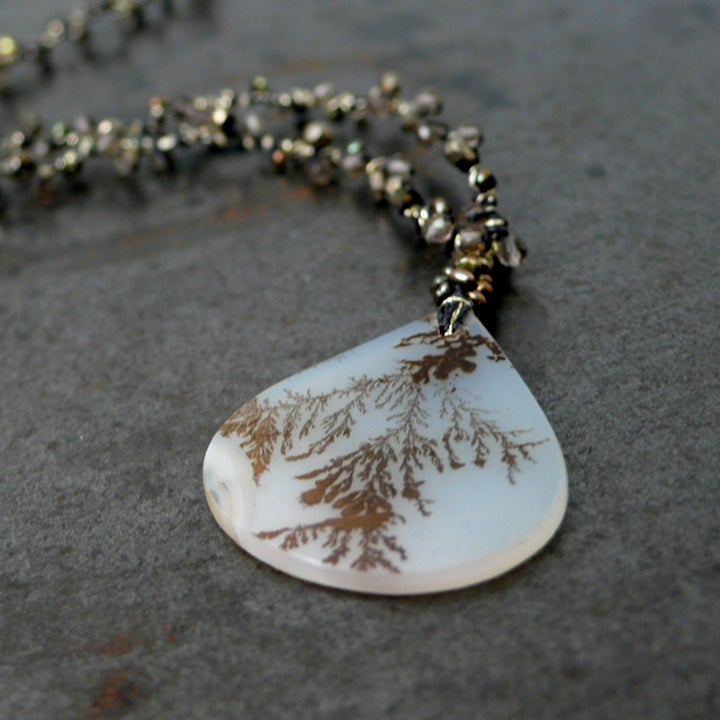 Image of Dendrite Agate teardrop necklace