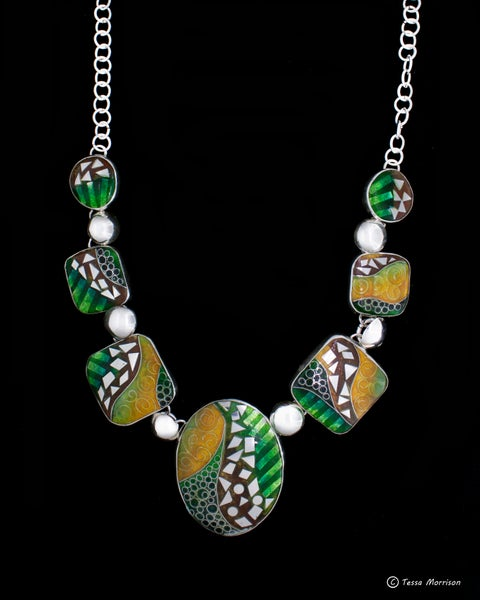 Image of Inspiration: Cloisonné and Basse Taille Enamel and Silver Necklace