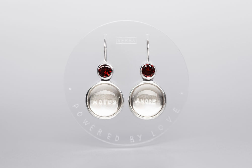 Image of silver earrings with garnet and rock crystal MOTUS AMORE