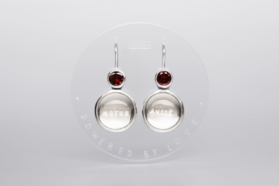Image of silver earrings with garnets and rock crystals MOTUS AMORE