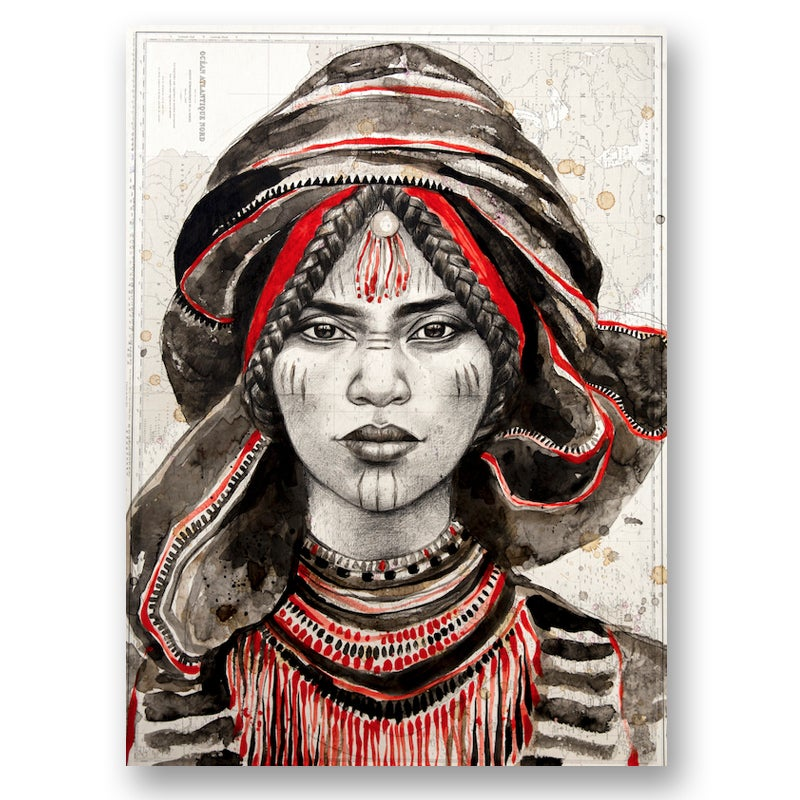 "Image of Paper Art Print - ""Maryama rouge"""